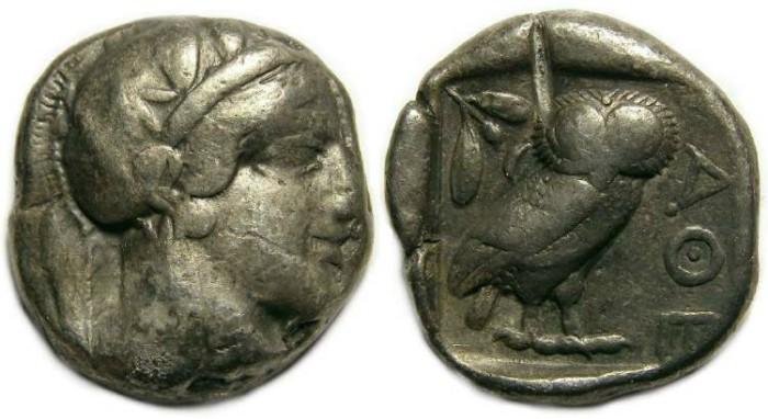Ancient Coins - Athens, ca. 449-413 BC. Silver tetradrachm.