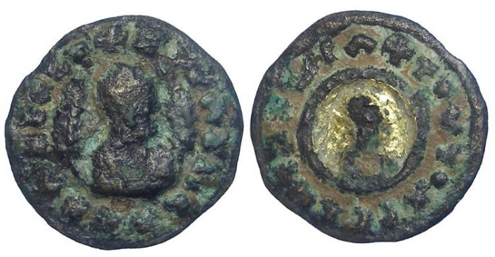 Ancient Coins - Axumite. King Ouzebas. ca. AD 340's to 400.  AE unit with gold inlay.