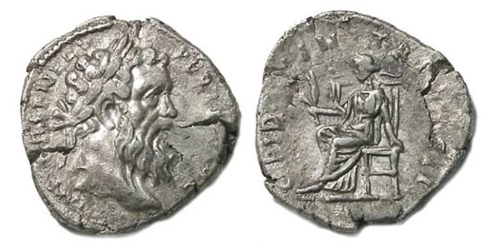 Ancient Coins - Pertinax, AD 193. Silver denarius.