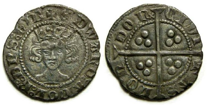 Ancient Coins - English, Edward III, AD 1327 to 1307. Silver penny.