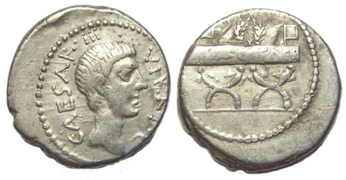 Ancient Coins - Octavian. 42 BC. Silver denarius.