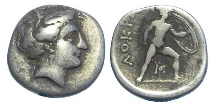 Ancient Coins - LOKRIS OPUNTIA.  ca. 338 TO 300 BC.  Silver hemidrachm.