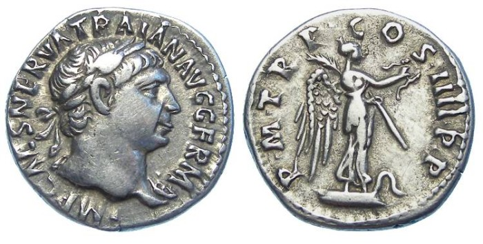 Ancient Coins - Trajan, AD 98 - 117, Silver denarius.