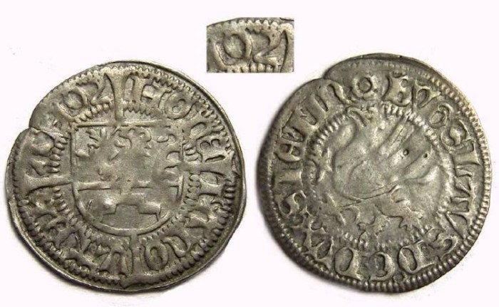 Ancient Coins - Germany, Pomerania.  Bogislaus X, AD 1472 to 1523.  Silver Schilling DATED 1492.