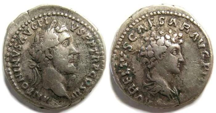 Ancient Coins - Antoninus Pius and Marcus Aurelius.  Silver denarius.