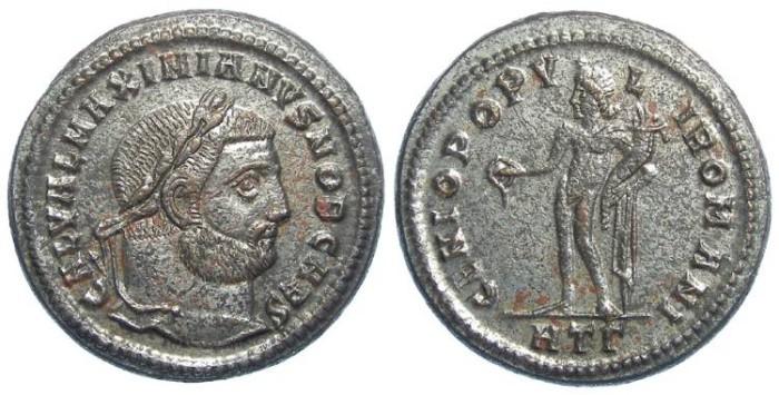 Ancient Coins - Galerius, as Caesar, AD 293-305. Bronze follis. Exceptional centering.
