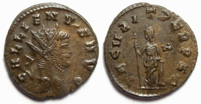 Ancient Coins - Gallienus, AD 253 to 268. Billon Antoninianus.