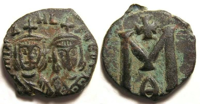 Ancient Coins - Byzantine. Michael II and Theophilus, AD 821 to 822.  Bronze follis.