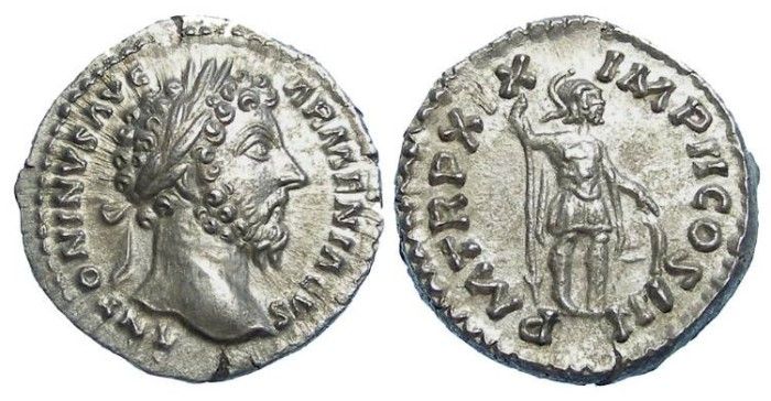 Ancient Coins - Marcus Aurelius , AD 161 to 180, Silver denarius.   Superb example.