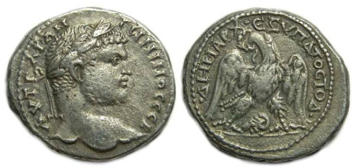 Ancient Coins - Caracalla, AD 198-217, Billon tetradrachm from Damascus.