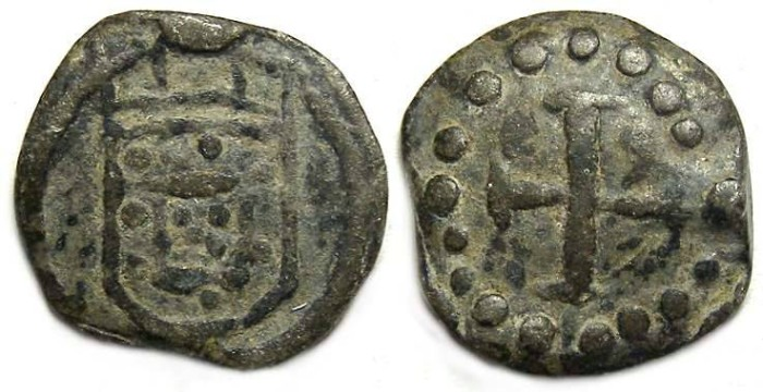 Ancient Coins - Portuguese Malacca (Malaysia).  Anonymous tin 1/2 Bazaruco.  16th century.