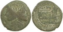 Ancient Coins - Roman Imperatorial.  Sextus Pompey.  AE As. 43 to 36 BC.