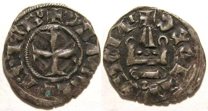 Ancient Coins - Crusaders in Frankish Greece, Achaea, Isabelle de Villehardouin, AD 1297-1301