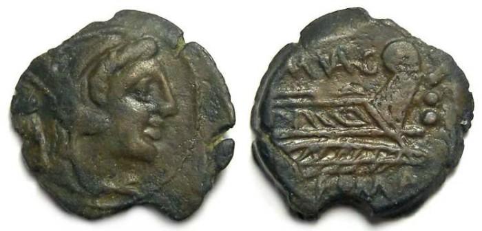 Ancient Coins - Roman Republic. M. Vargunteius. AE Quadrans.  ca. 130 BC.