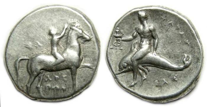Ancient Coins - Taras. ca 302 to 281 BC. Silver didrachm.