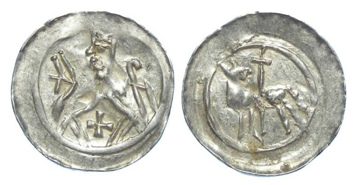 Ancient Coins - French/German. Strassburg Bishopric. Heinrich v. Staleck. AD 1245 to 1260. Silver denier.