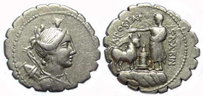 Ancient Coins - Roman Republic. A. Postumius Albinus. ca. 81 BC.  Silver denarius.