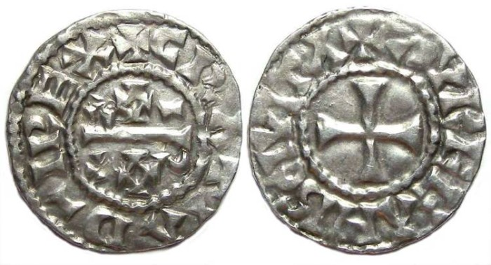 Ancient Coins - Carolingian, West Frankish Kingdom, Raoul. AD 923 to 936. Silver denier.