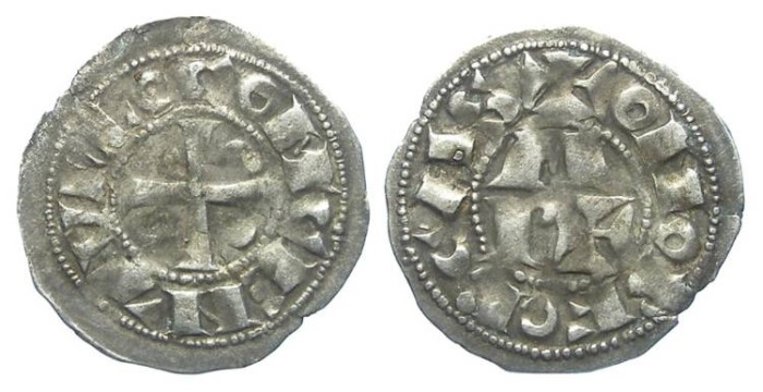 Ancient Coins - French Feudal. Bearn. Centulle Counts. 12th to 13th century. Silver obol.