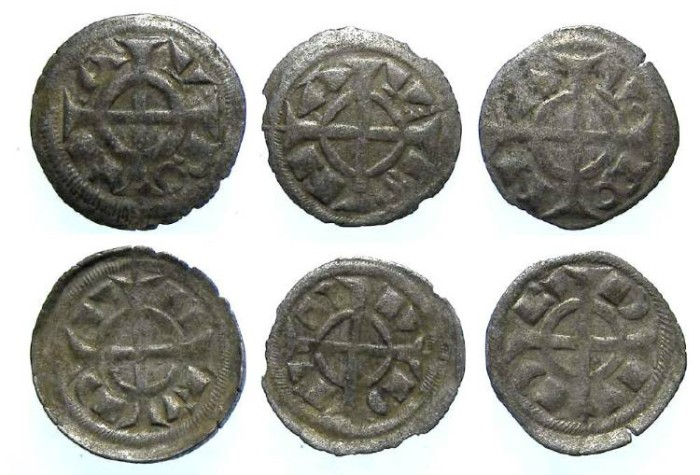 Ancient Coins - Italy, Verona. Fredrick II, 1218 to 1250, billon denaro. DEALER LOT OF 3 COINS.