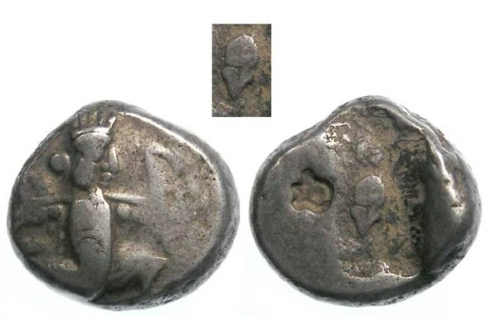 Ancient Coins - Royal Persian Coinage. ca. 450 to 330 BC.  Rare type with Helmet on reverse die.