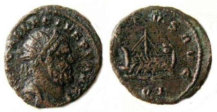 Ancient Coins - Allectus, AD 293 to 296.  Bronze Quinarius.