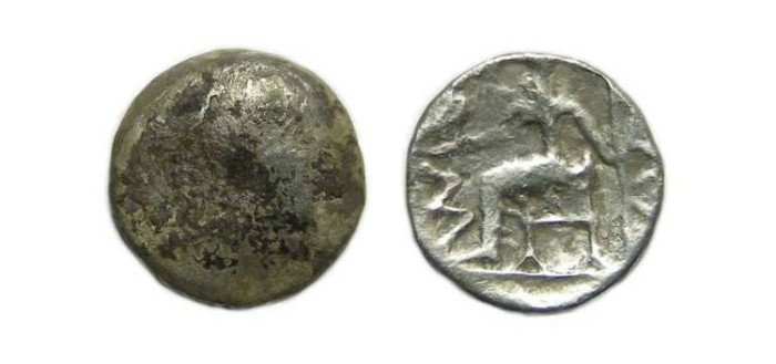 Ancient Coins - Eastern Arabian Peninsula.  Anonymous silver obol, ca. 2nd century BC.  Imitating coinage of Alexander.