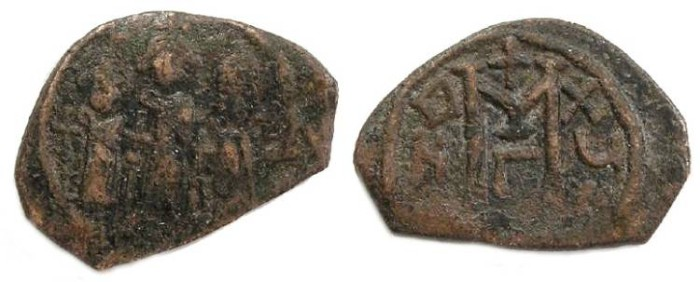 Ancient Coins - Byzantine. Heraclius with Heraclius Constantine and Queen Martina ca. AD 610-641