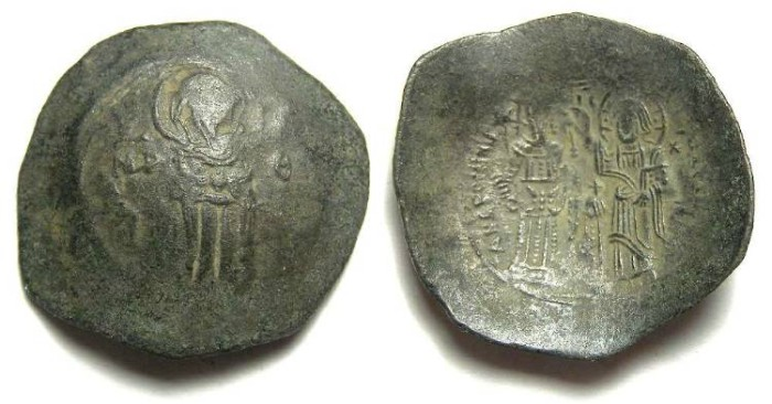Ancient Coins - Byzantine. Andronicus I. AD 1183 to 1185. Billon Aspron trachy.