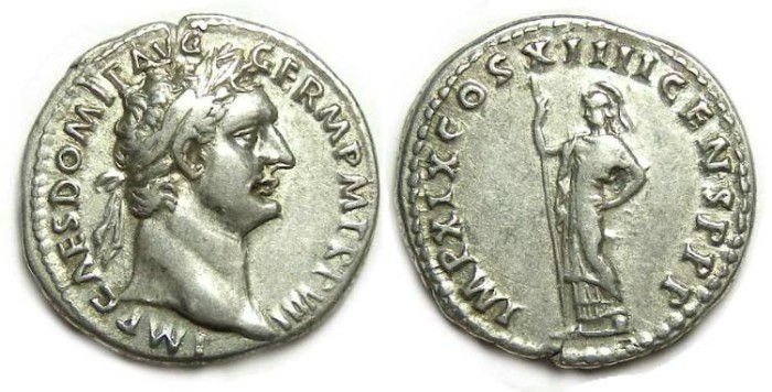 Ancient Coins - Domitian as Augustus, AD 81 to 96. Silver denarius