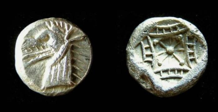 Ancient Coins - Caria, Kindya, ca. 500 BC, silver tetrobol.