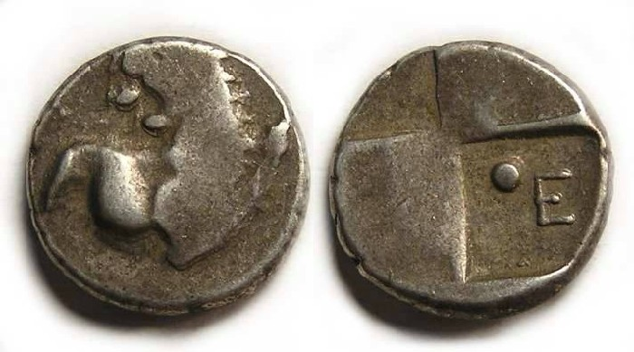 Ancient Coins - Thrace, Chersonesos.  400 to 350 BC.  Silver hemidrachm.