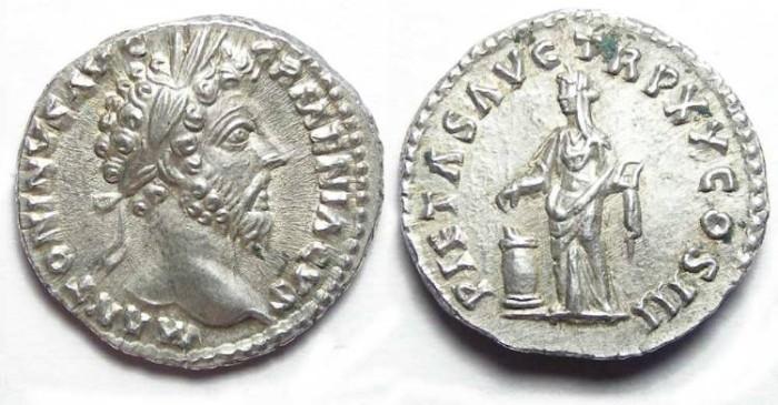 Ancient Coins - Marcus Aurelius , AD 161 to 180, Silver denarius. SUPERB COIN.