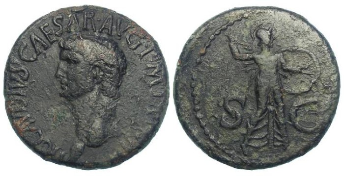 Ancient Coins - Claudius. AD 41 to 54. Copper As.