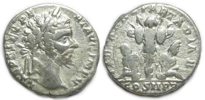 Ancient Coins - Septimius Severus, AD 193 to 211, Silver denarius