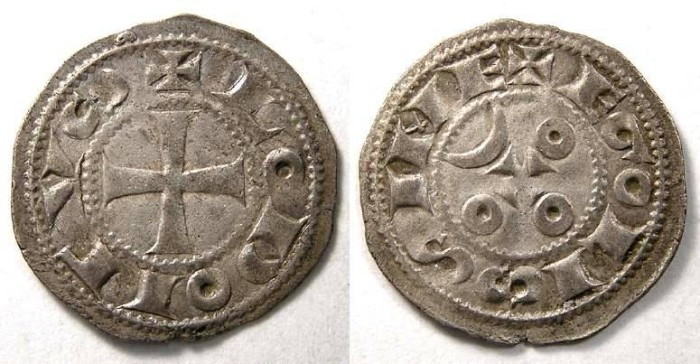 Ancient Coins -  France Feudal. Angouleme. Anonymous silver denier. 12th to 13th century.