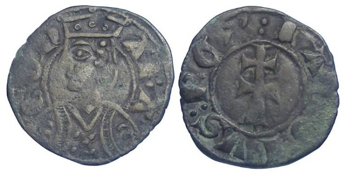 Ancient Coins - Spain. Aragon. Jaime II, AD 1291 to 1327. Billon dinero.