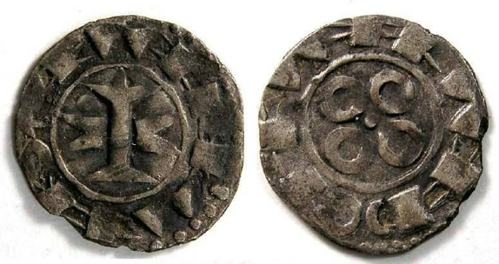 Ancient Coins - France Feudal. Maguelonne Counts and Bishops, 11th to 13th century. Silver denier.