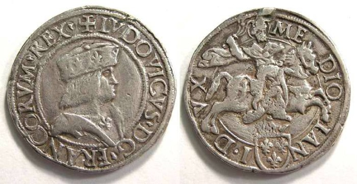 Ancient Coins - French/Italy.  Milan under France. Louis XII, AD 1498 to 1515. Silver teston.