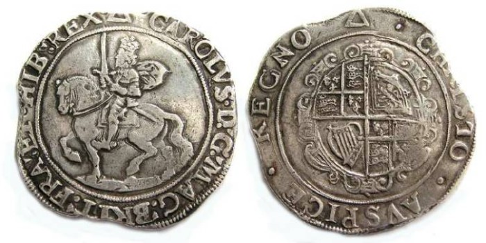 Ancient Coins - Britain. Charles I, 1625 to 1649. Silver half crown.