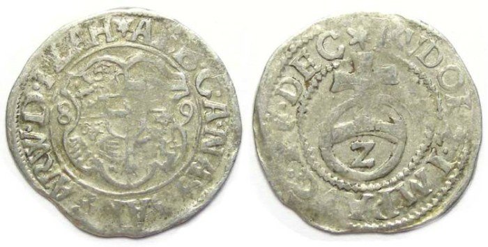Ancient Coins - Germany, Nassau-Weilburg.  Albrecht, AD 1559 to 1593.  Silver1/2 batzen.  Dated 1589.
