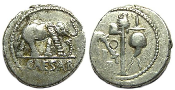 Ancient Coins - Roman Imperatorial. Julius Caesar. ca. 49 BC. Silver denarius.