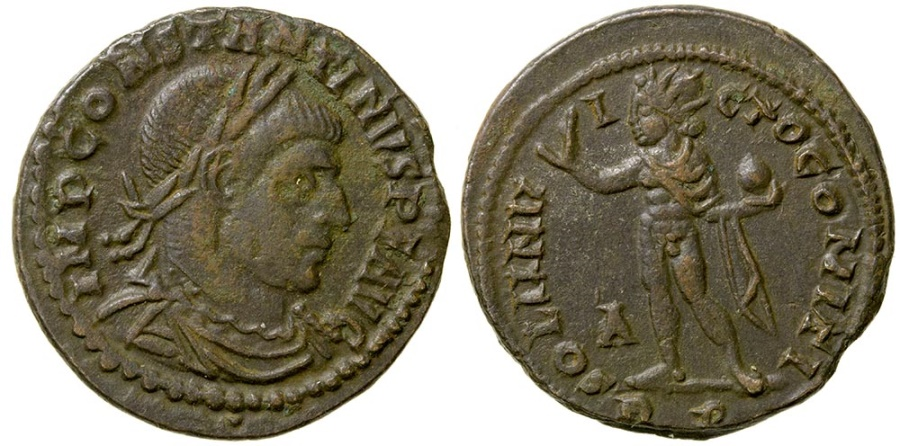 Ancient Coins - Constantine the Great, AD 307 to 337. AE reduced follis. Rome mint