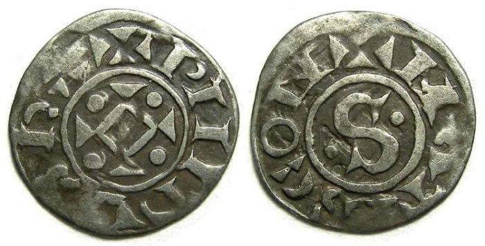 World Coins - French Royal.  Philippe I.  AD 1060 to 1108.  Silver denier. RARE TYPE.