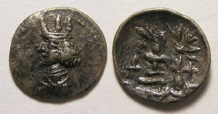 Ancient Coins - Kingdom of Persis. Artaxerxes II, 1st century BC. Silver obol.