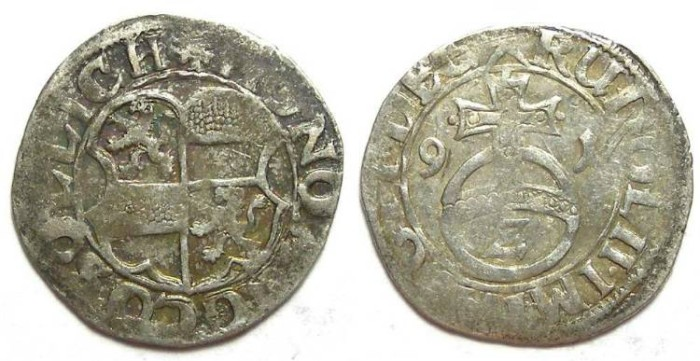 Ancient Coins - Germany, Solms-Lich.  Anonymous.  Silver 1/2 batzen.  Dated 1591.