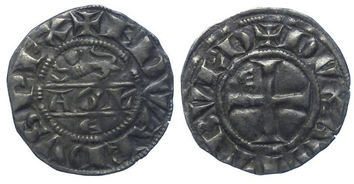 Ancient Coins - Anglo-Gallic. Edward I, AD 1272 to 1307. Billon Denier au Leopard.