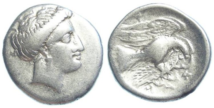 Ancient Coins - Chalkis in Euboia. Silver drachm. 340-294 BC