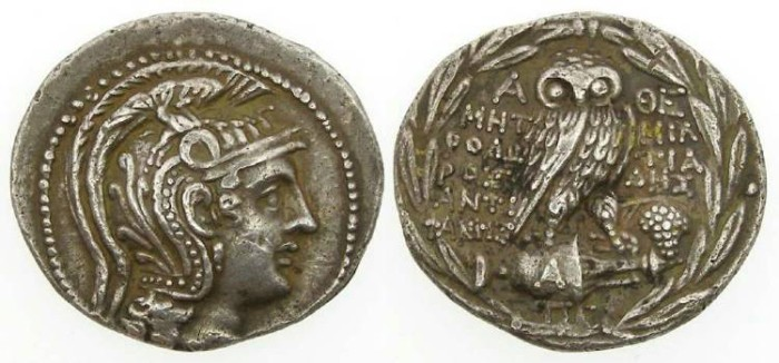 Ancient Coins - Athens, ca. 147 to 146 BC. Silver new style tetradrachm.  super eye-appeal.