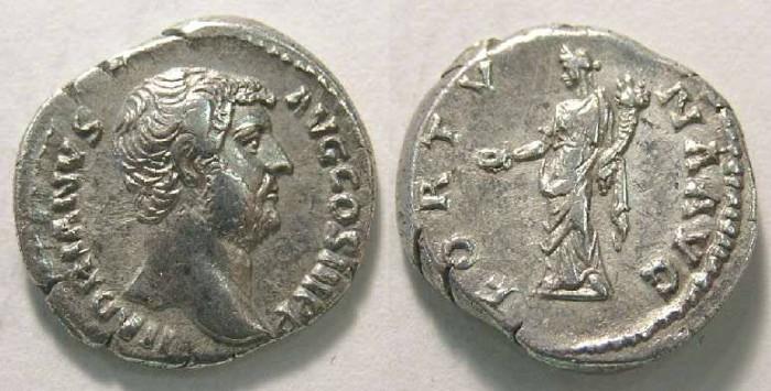 Ancient Coins - Hadrian, AD 117 to 138, Silver denarius.